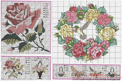 Вышивка алых роз на подушках