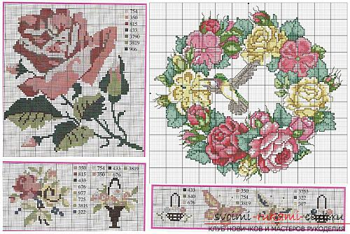 Вышивка алых роз на подушках по схемам. Фото №3