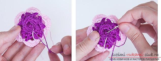 Схемы и подробное описание, как связать объемную розу крючком своими руками.. Фото №4