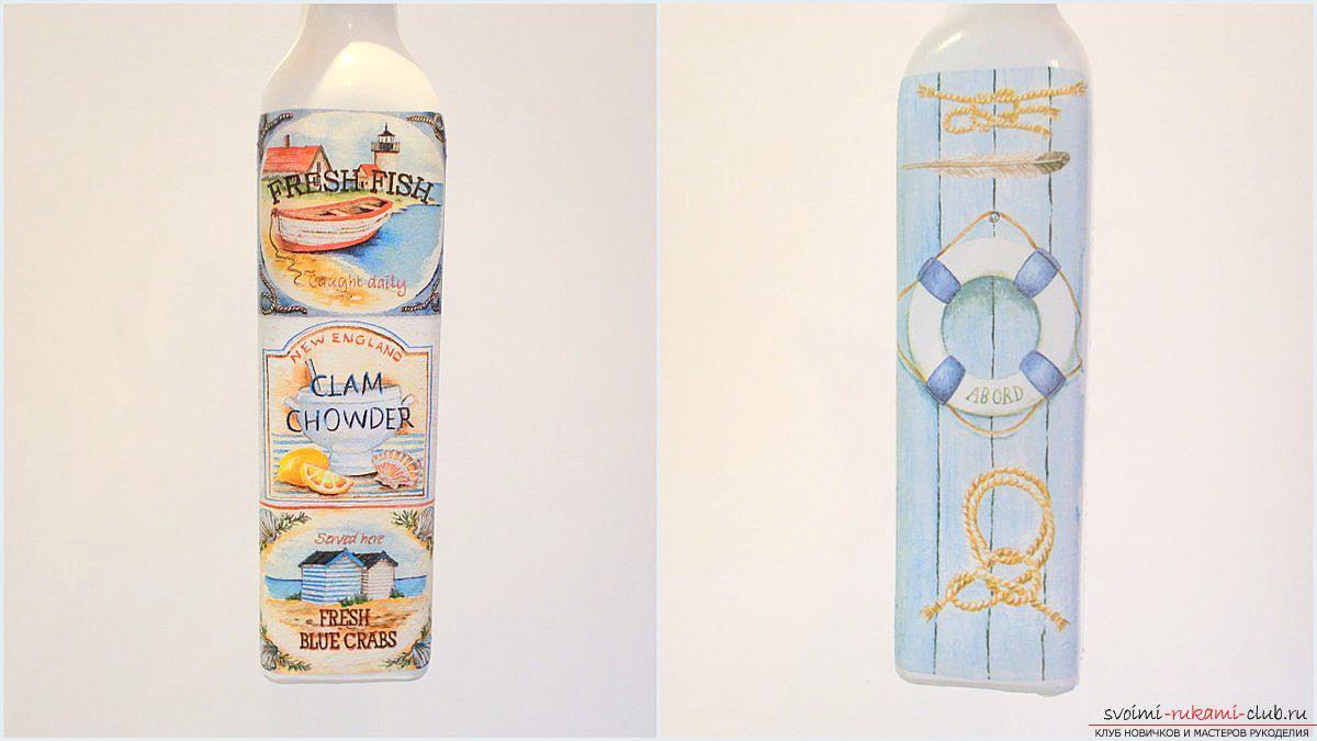 Мастер-класс покажет, как сделать из бутылки поделку, декорированную в стиле декупаж своими руками.. Фото №2