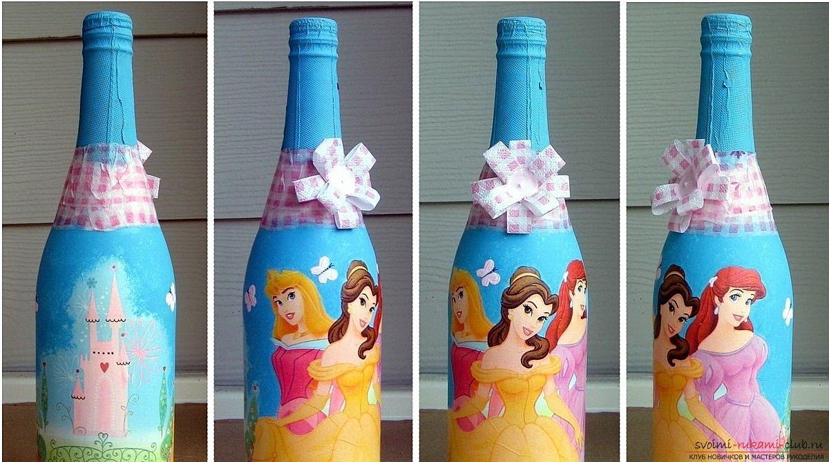 Украсить бутылку своими руками салфетками