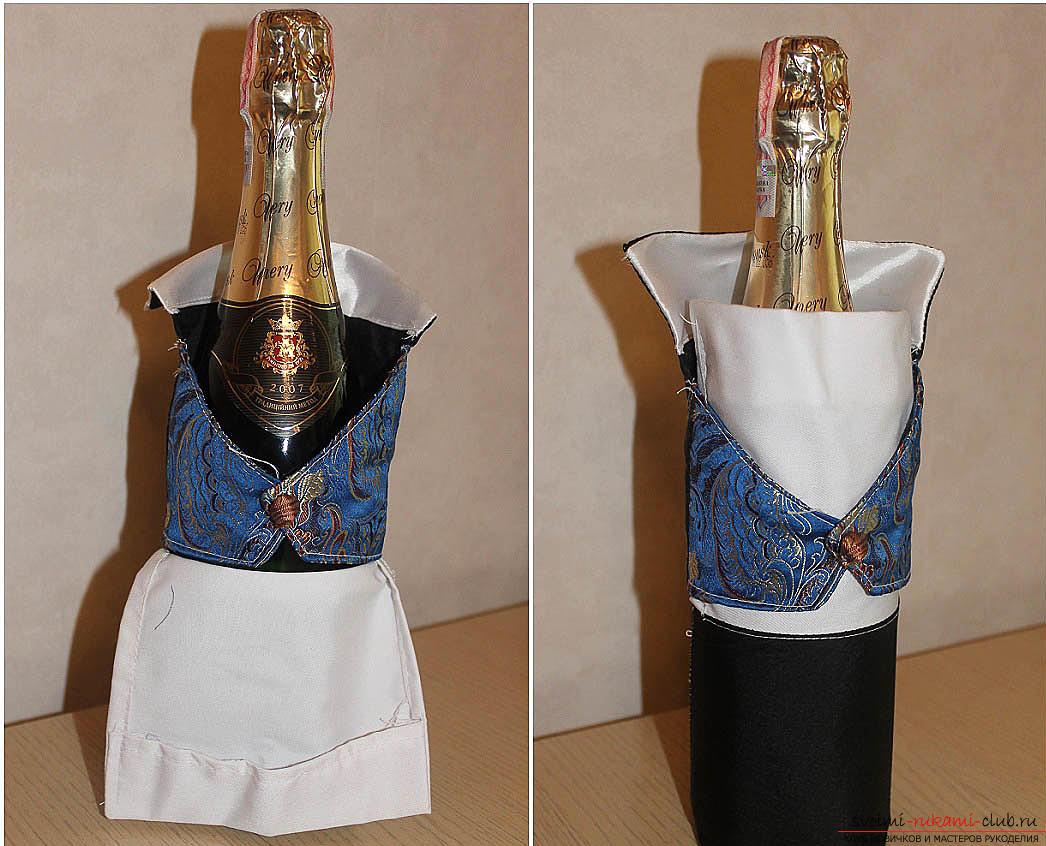 Свадебный декупаж бутылок с шампанским. Фото №1