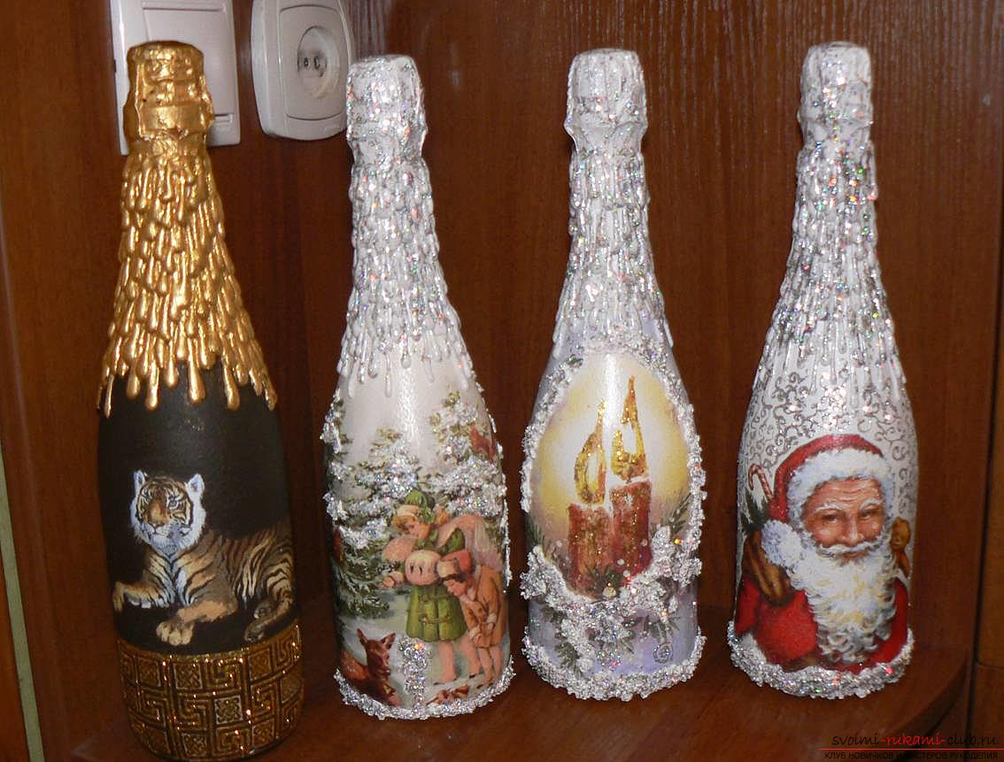 Бутылка шампанского декупаж своими руками