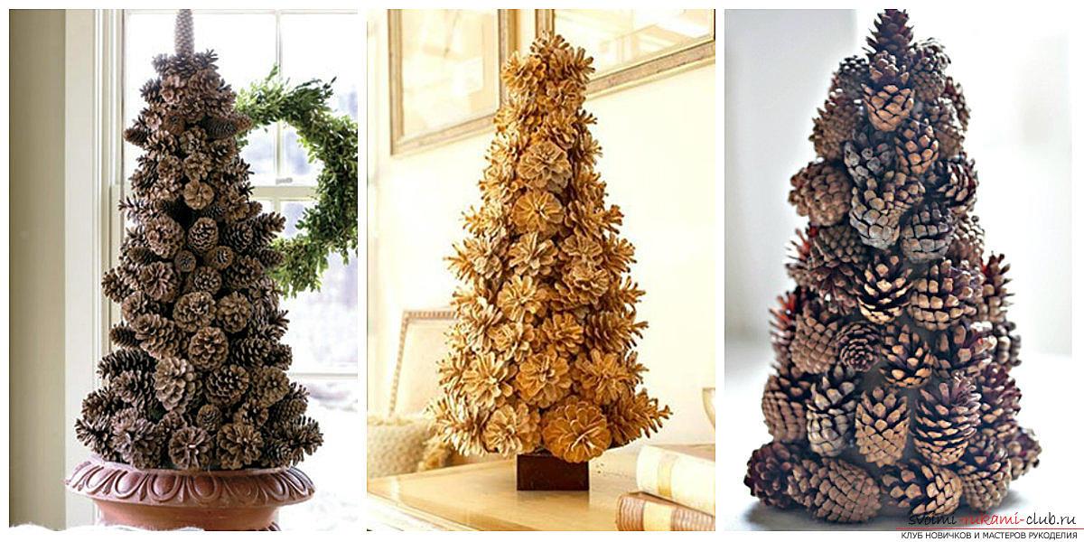Шар и елочка к Новому году из шишек станут отличным украшением для вашего дома
