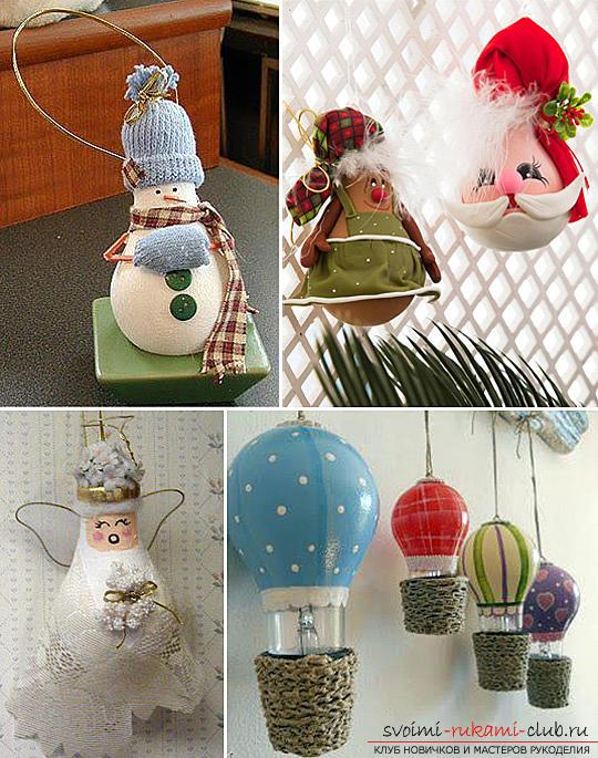 Как сделать новогодние украшения из лампочек. Фото №3