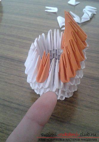 Как сделать маленького лебедя из модулей. Фото №15