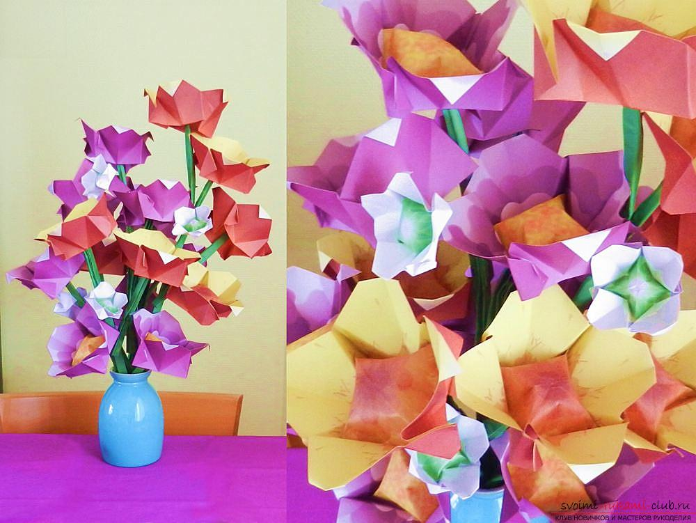 Простые схемы цветов оригами.