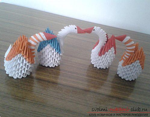 Как сделать маленького лебедя из модулей. Фото №19