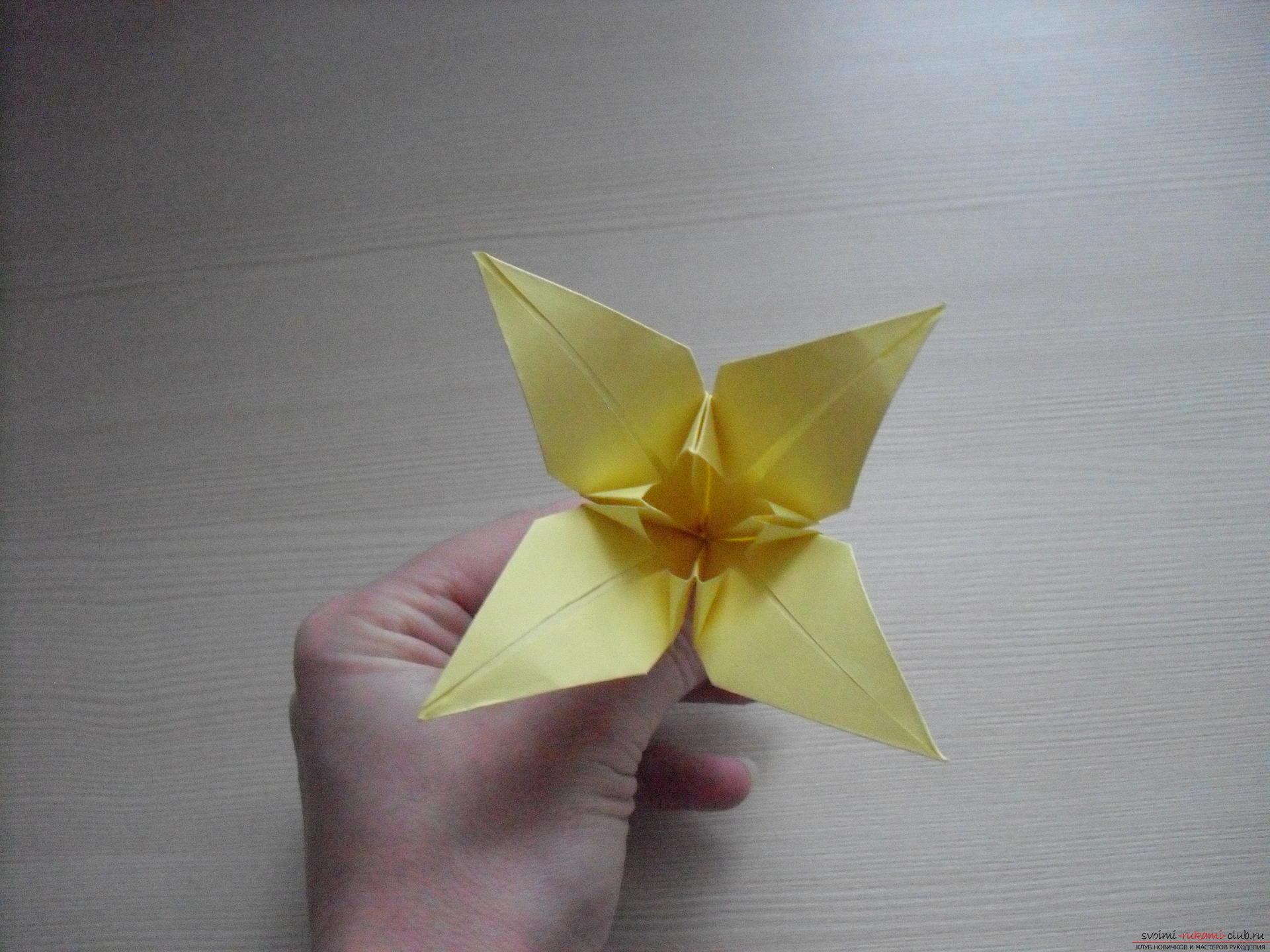 Этот пошаговый мастер-класс с инструкцией модульного оригами научит как сделать корзинку с лилиями.. Фото №37