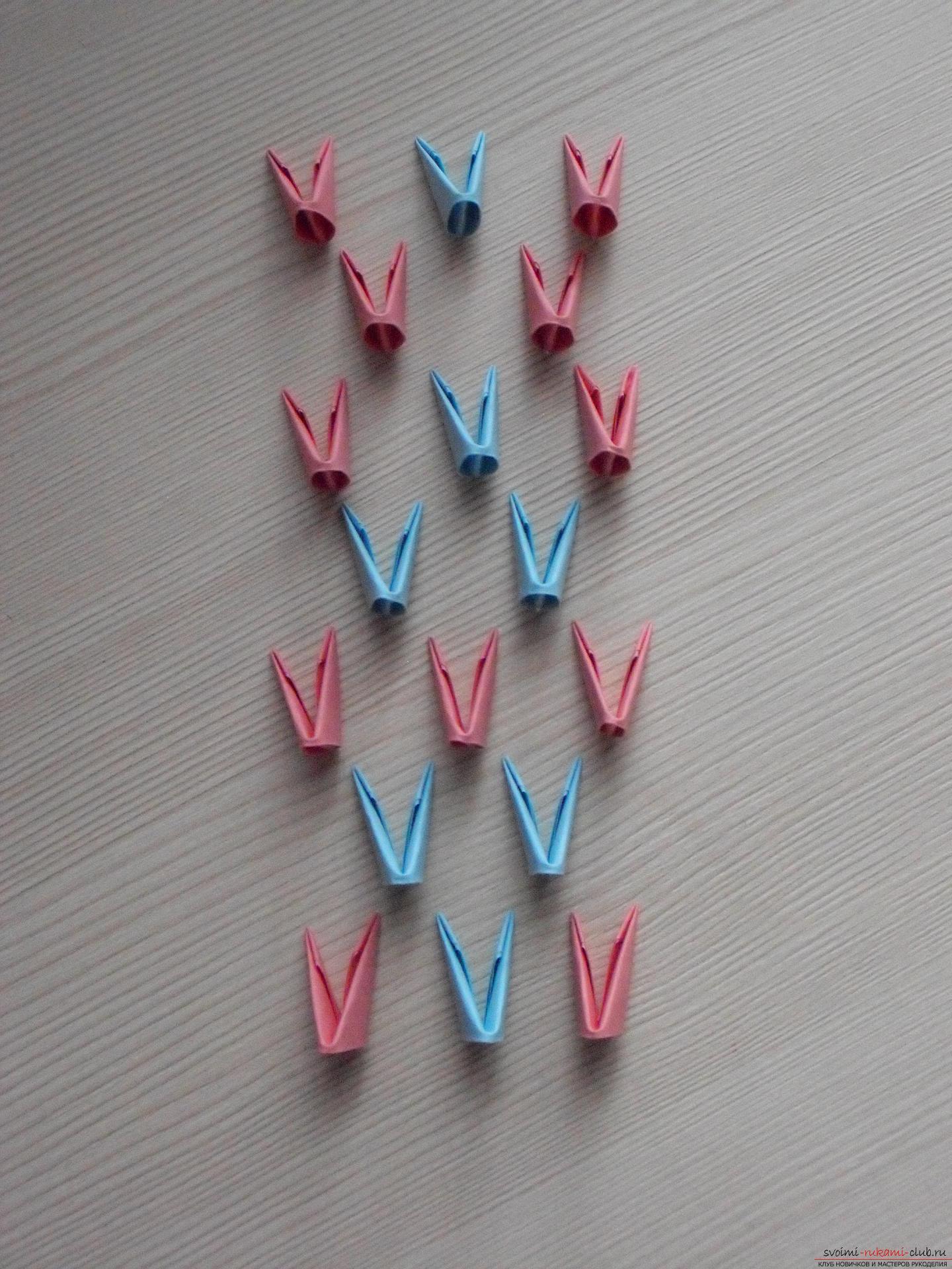 Этот пошаговый мастер-класс с инструкцией модульного оригами научит как сделать корзинку с лилиями.. Фото №13