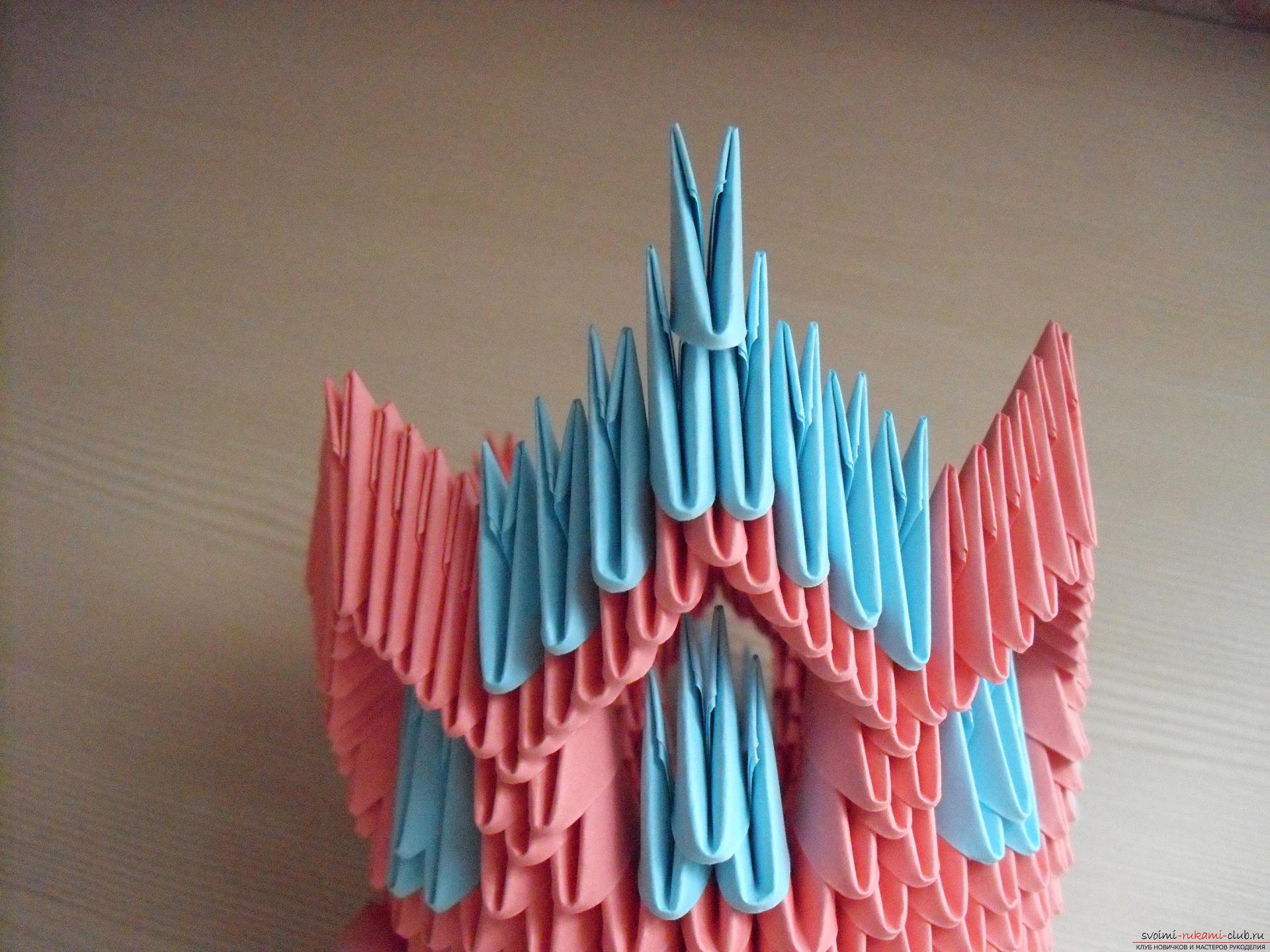 Этот пошаговый мастер-класс с инструкцией модульного оригами научит как сделать корзинку с лилиями.. Фото №12