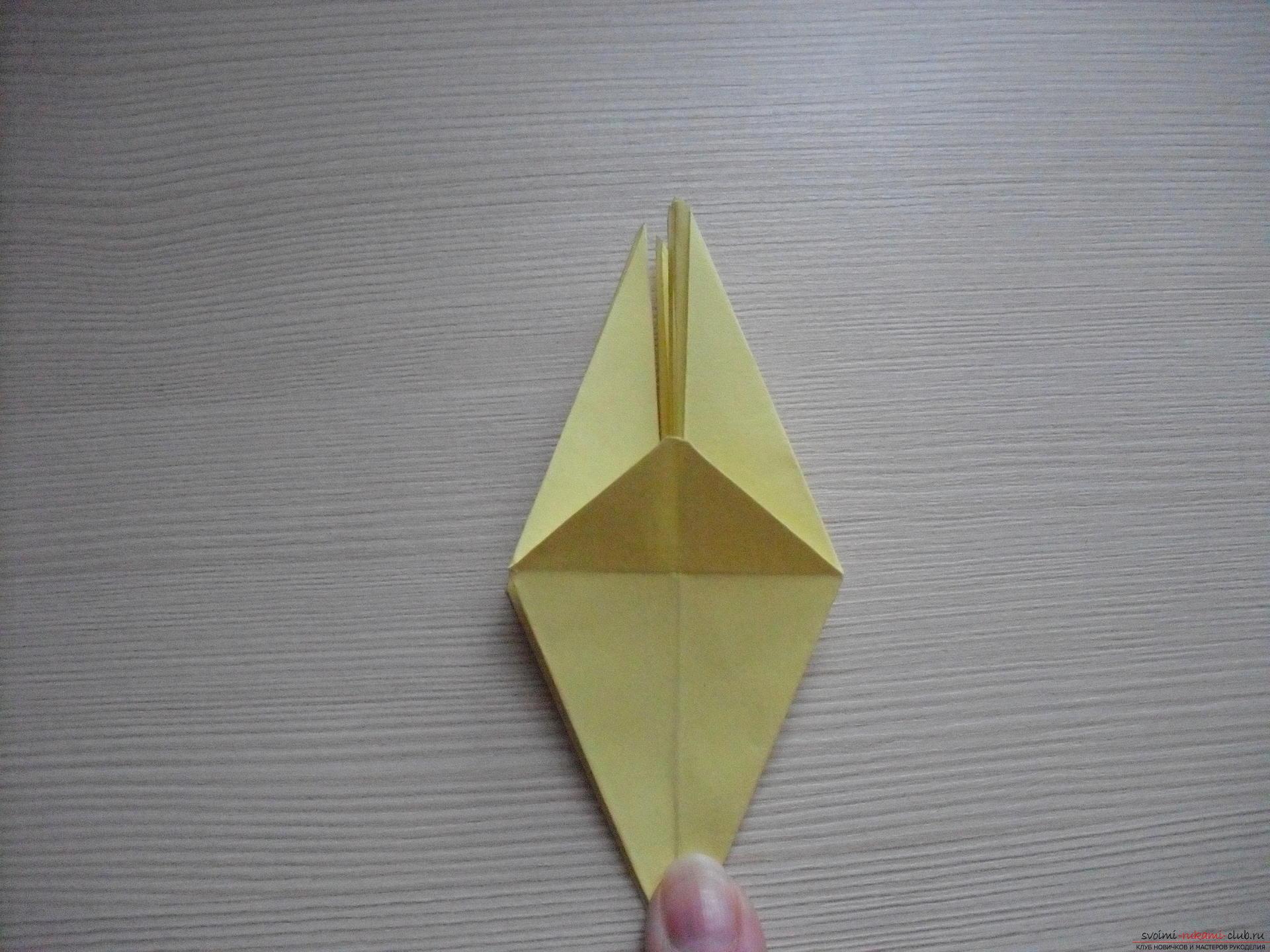 Этот пошаговый мастер-класс с инструкцией модульного оригами научит как сделать корзинку с лилиями.. Фото №33