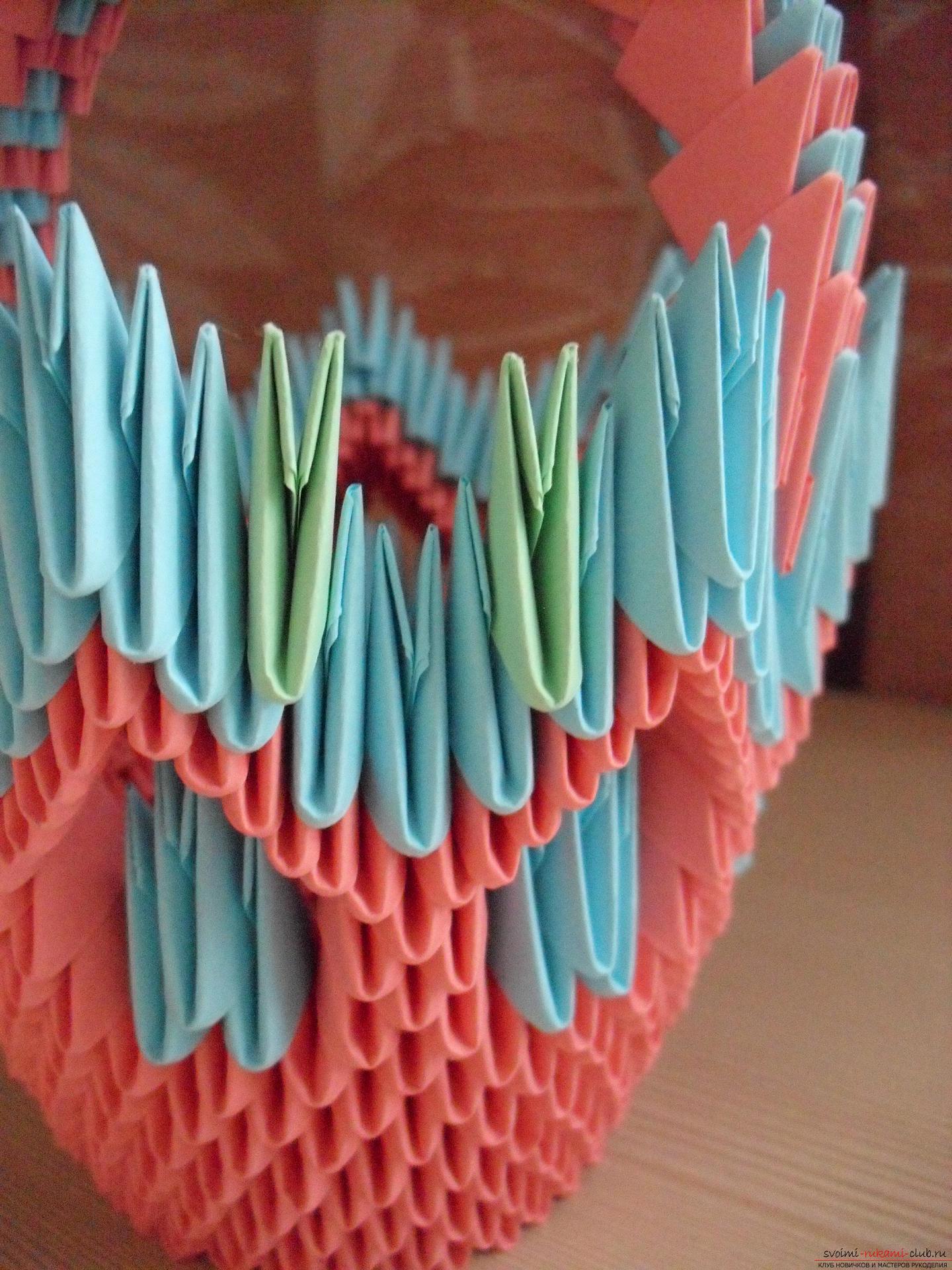 Этот пошаговый мастер-класс с инструкцией модульного оригами научит как сделать корзинку с лилиями.. Фото №18