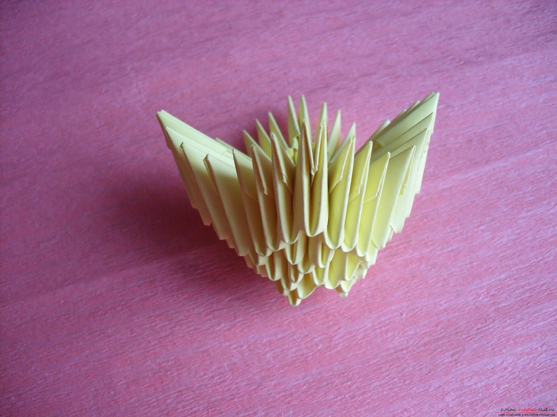 Этот мастер-класс научит как сделать вазу с тюльпанами из бумаги в технике модульного оригами.. Фото №21