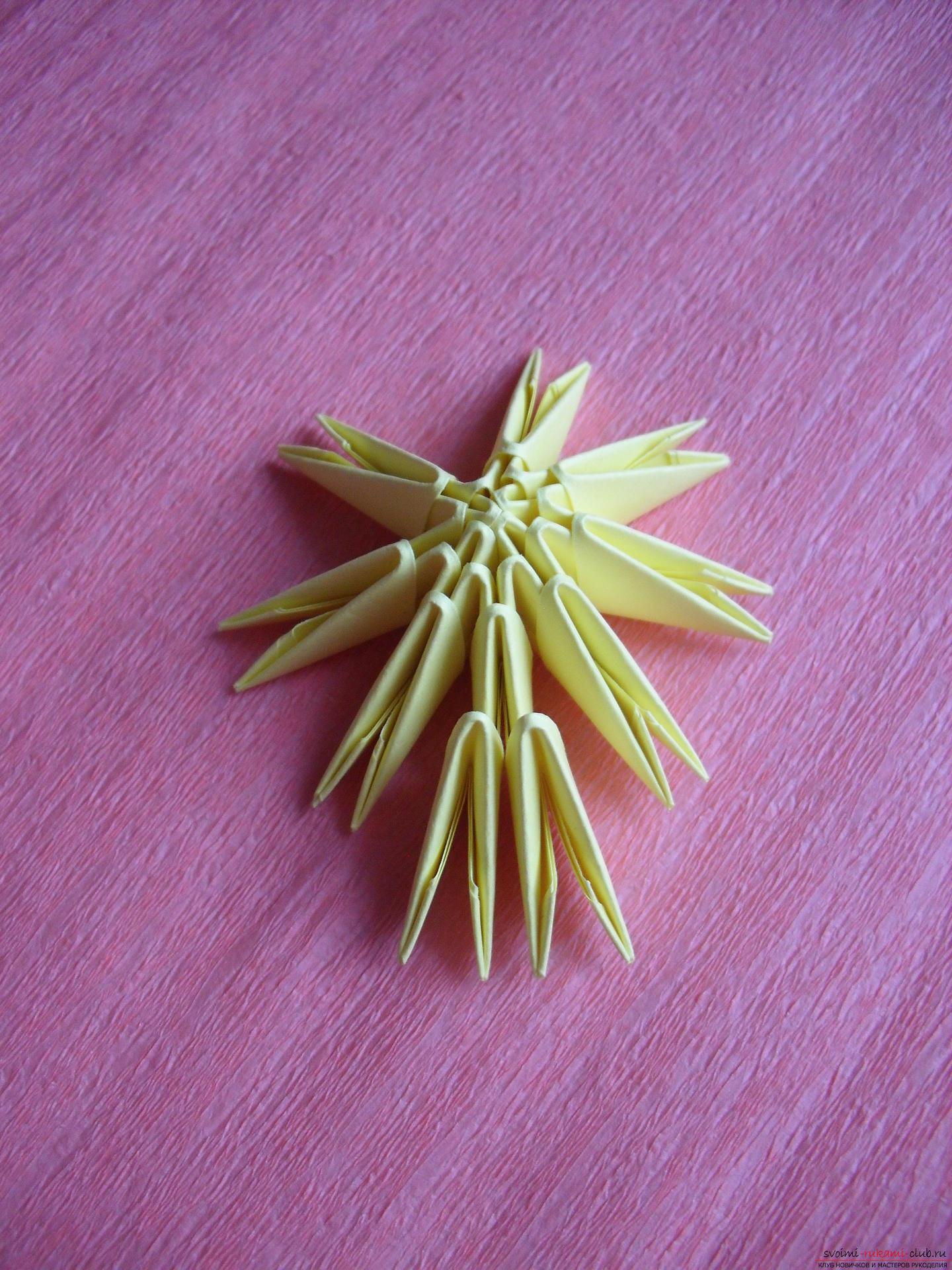 Этот мастер-класс научит как сделать вазу с тюльпанами из бумаги в технике модульного оригами.. Фото №14