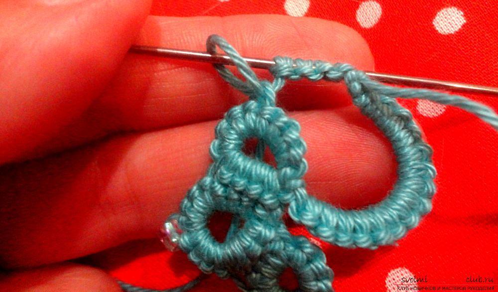 плетение бижутерии фриволите иглой. Фото №5