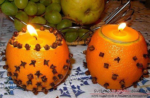 Подсвечники из апельсина своими руками