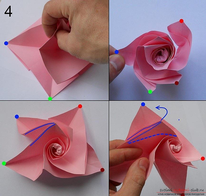 Бумажная роза в технике оригами. Фото №5
