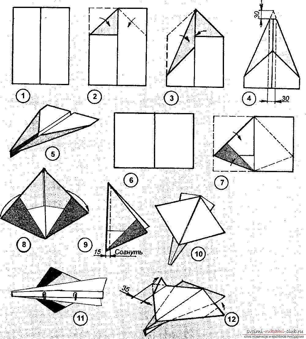 Самолет из бумаги схема своими руками