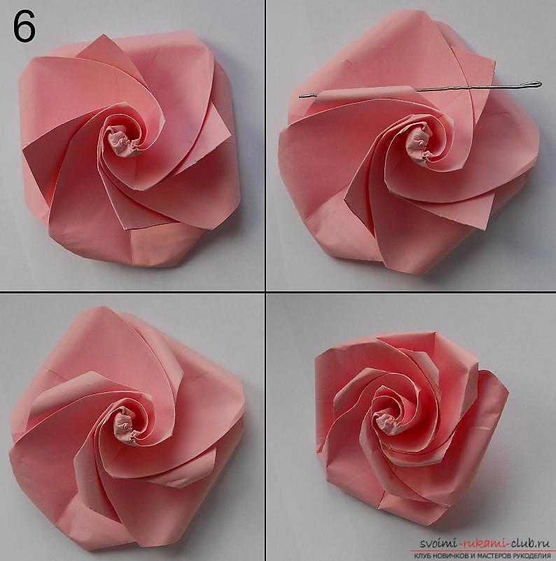 Бумажная роза в технике оригами. Фото №7