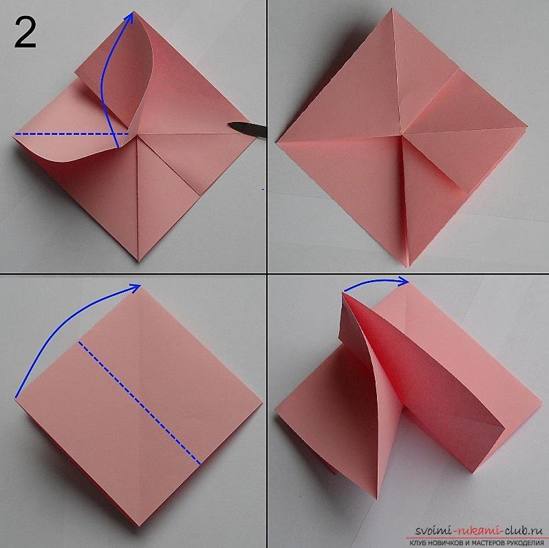 Бумажная роза в технике оригами. Фото №3