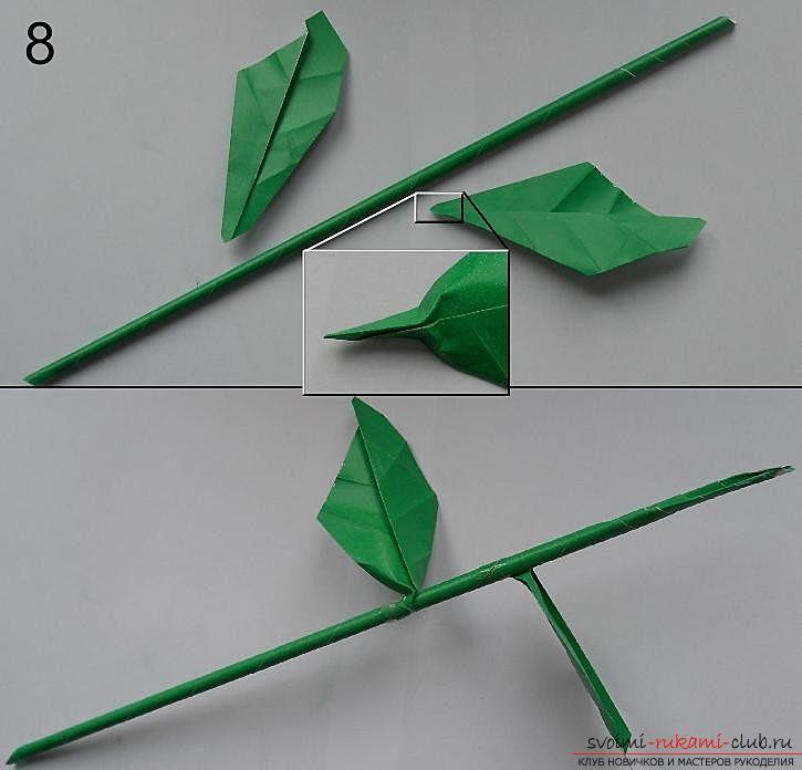 Бумажная роза в технике оригами. Фото №9