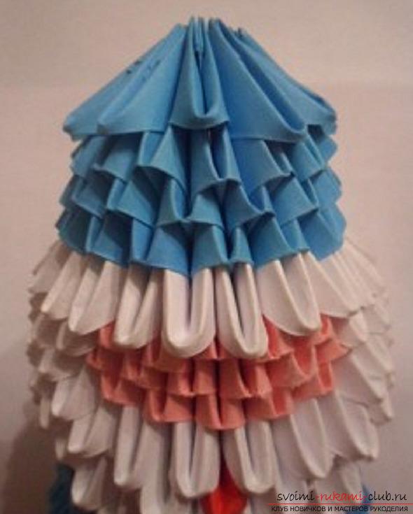 Схема создания модульного оригами Деда Мороза из бумаги для начинающих