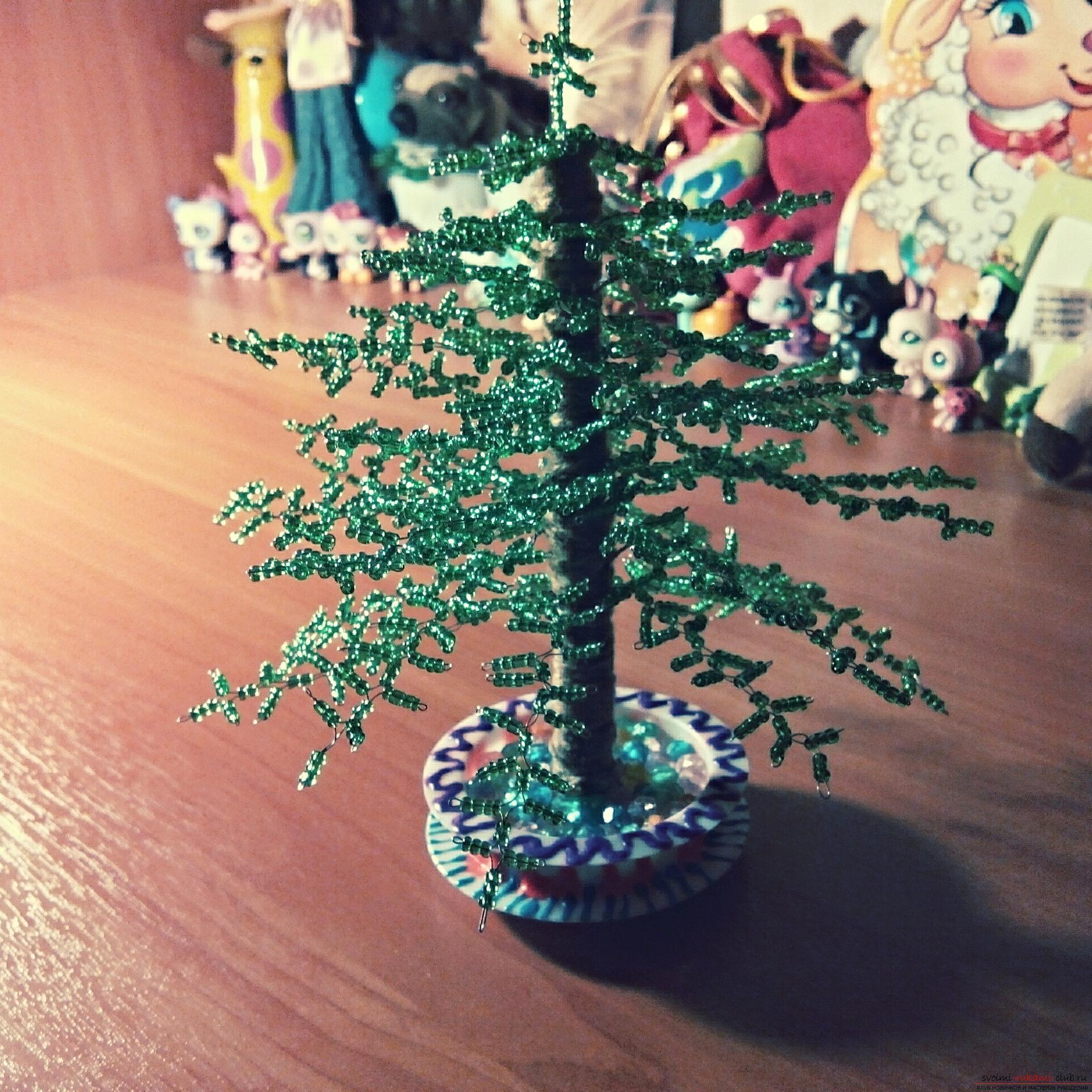 Дерево поделки бисер 78