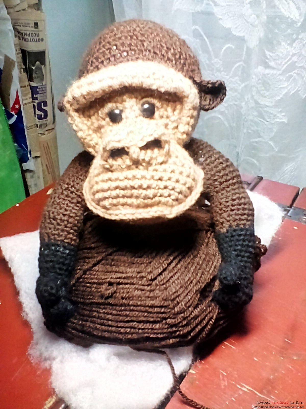 Вязаная горилла Эммочка - вязание крючком для начинающих схемы