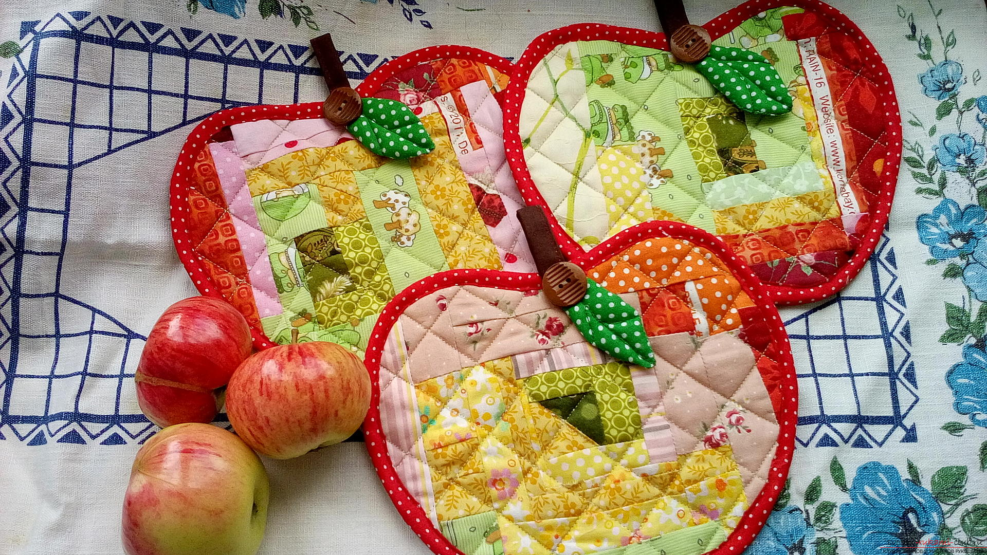 """""""Яблочные"""" прихватки, пэчворк и лоскутное шитье для начинающих"""