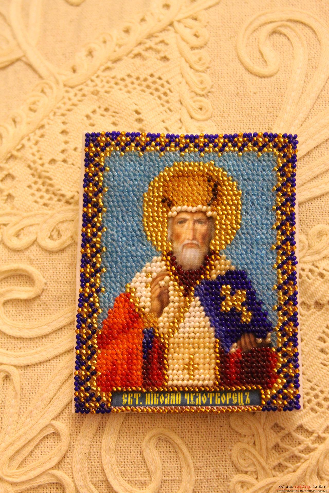 Икона из бисера николай чудотворец фото