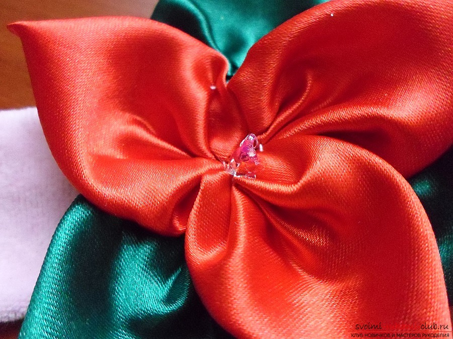 Создаём цветок из ленты - повязку на голову для девочки