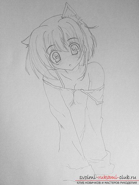 Как нарисовать карандашом девочку неко (аниме). Фото №5