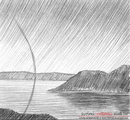 Рисование простого пейзажа карандашом поэтапно. Фото №5