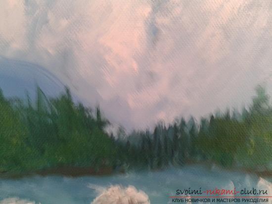 Рисование лесного пейзажа с водопадом поэтапно. Фото №7