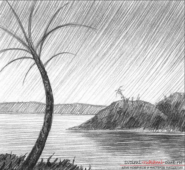 Рисование простого пейзажа карандашом поэтапно. Фото №7