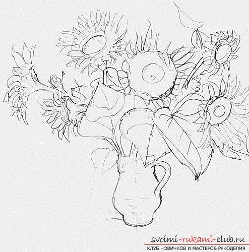 Поэтапное рисование подсолнухов