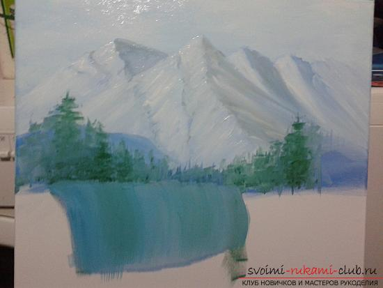 Рисование лесного пейзажа с водопадом поэтапно. Фото №6