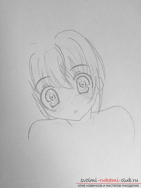 Как нарисовать карандашом девочку неко (аниме). Фото №3