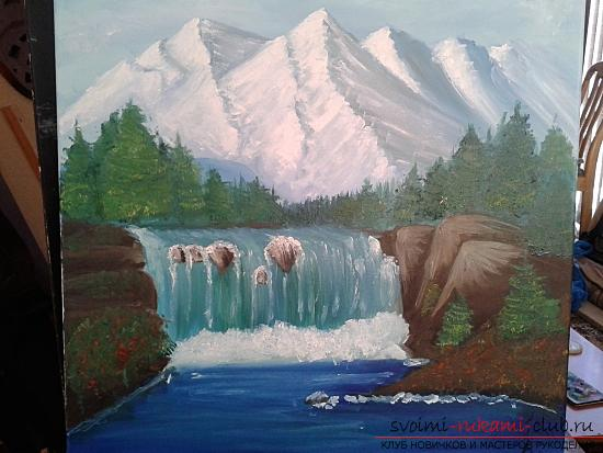 Рисование лесного пейзажа с водопадом поэтапно. Фото №12