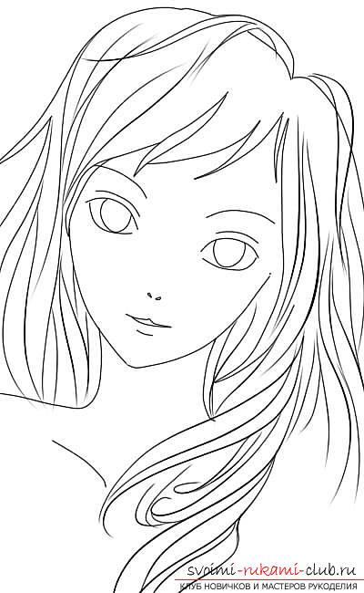 Рисование лица девушки в стиле
