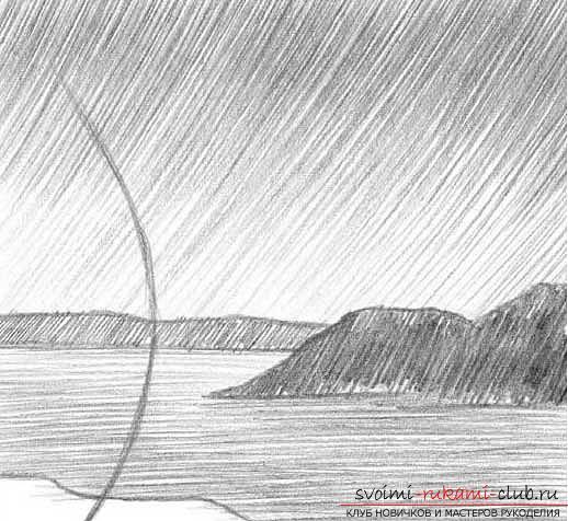 Рисование простого пейзажа карандашом поэтапно. Фото №4