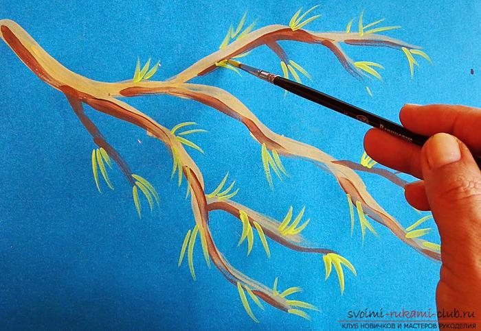 Как нарисовать весеннюю яблоневую ветку поэтапно. Фото №6