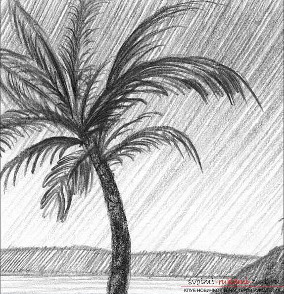 Рисование простого пейзажа карандашом поэтапно. Фото №8