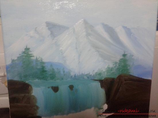 Рисование лесного пейзажа с водопадом поэтапно. Фото №8