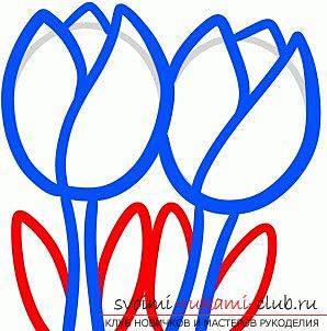 Простое поэтапное рисование весенних цветов, тюльпанов, с детьми позволит освоить азы живописи