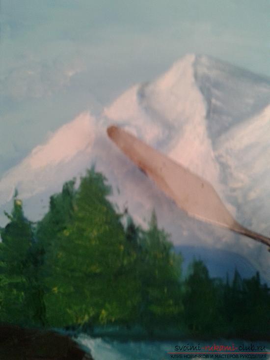 Рисование лесного пейзажа с водопадом поэтапно. Фото №16