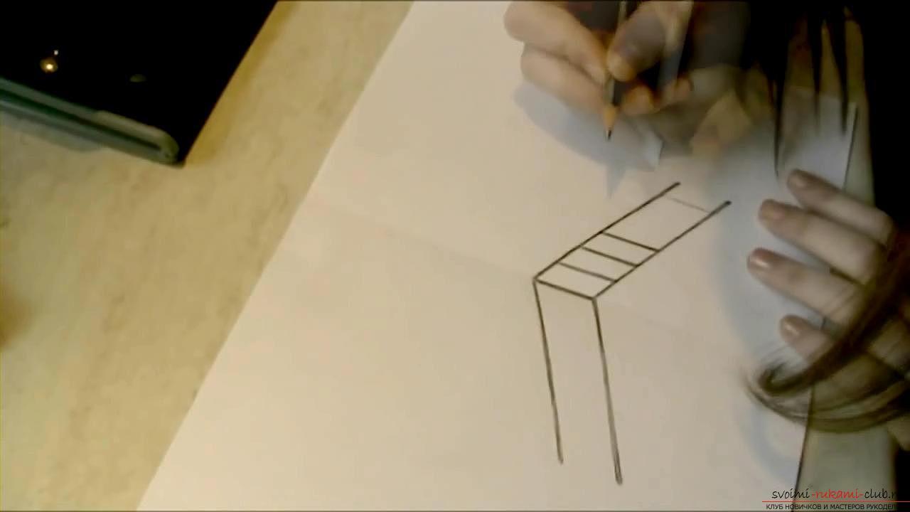 Как нарисовать 3д картинки карандашом поэтапно