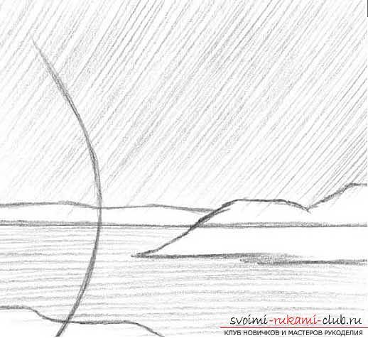 Рисование простого пейзажа карандашом поэтапно. Фото №3