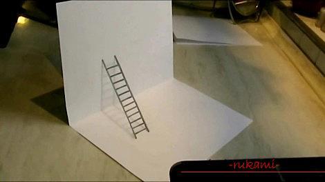 Рисование 3d рисунка, изображение лестницы, карандашом для начинающих. Фото №5